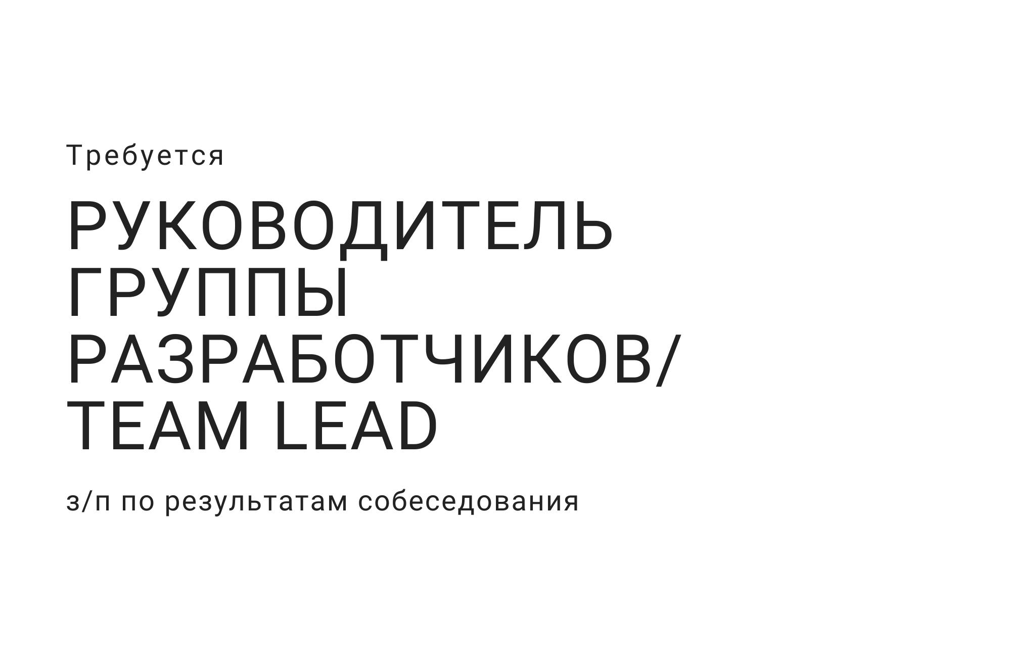Руководитель группы разработчиков /Team Lead